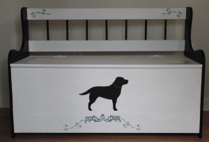 Black Lab hand-painted Pine bench chest