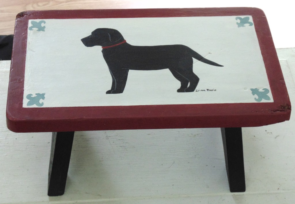 Black Labrador Painted Step Stool