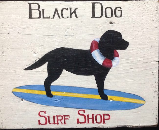 Black Dog Surf Shop labrador sign