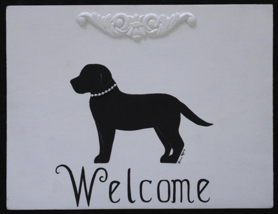 Black Lab Welcome Shabby Chic Cottage Sign